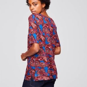 Loft Red & Blue Paisley Ballet Neck Tee NWT